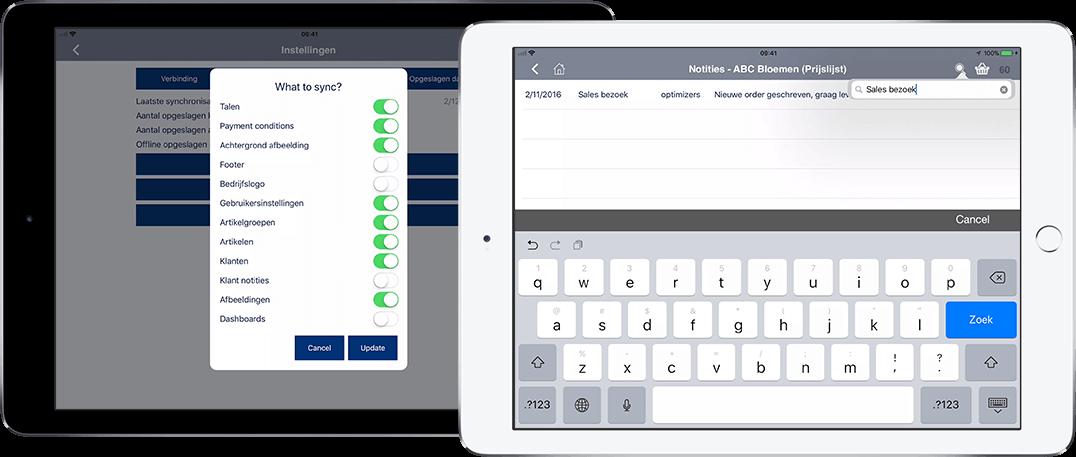 App4Sales update Synchroniseren en Notities doorzoeken